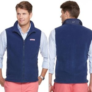 Vineyard vines men's blue fleece harbor vest